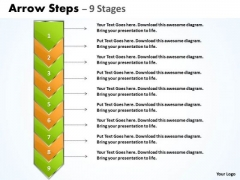 Strategy Diagram Arrow 9 Stages Business Diagram