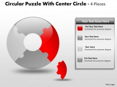 Strategy Diagram Circular Puzzle With Center Circle 4 Pieces Marketing Diagram
