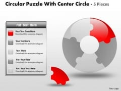 Strategy Diagram Circular Puzzle With Center Circle 5 Pieces Business Diagram