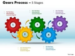 Strategy Diagram Gears Process 5 Stages Style Strategic Management