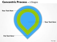 Strategy Diagram Green Concentric Process 3 Stages Strategic Management