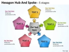 Strategy Diagram Hexagon Hub And Spoke 5 Stages Business Framework Model