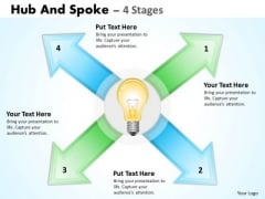 Strategy Diagram Hub And Spoke 4 Stages Business Diagram