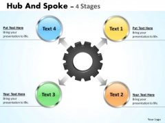 Strategy Diagram Hub And Spoke 4 Stages Marketing Diagram