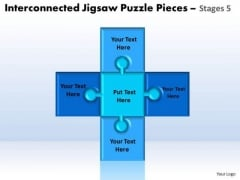 Strategy Diagram Interconnected Jigsaw Puzzle Pieces Stages 5 Strategic Management