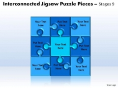 Strategy Diagram Interconnected Jigsaw Puzzle Pieces Stages 9 Strategic Management
