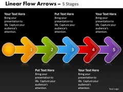 Strategy Diagram Linear Flow Arrow 5 Stages Business Diagram