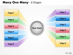 Strategy Diagram Many One Many 6 Stages Business Diagram