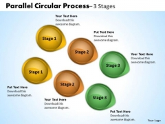 Strategy Diagram Parallel Circular Process 3 Stages Sales Diagram