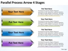 Strategy Diagram Parallel Process Arrow 4 Stages Sales Diagram