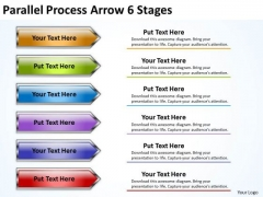 Strategy Diagram Parallel Process Arrow 6 Stages Sales Diagram