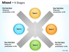 Strategy Diagram Unique Mixed Diagram For Strategy 4 Stages Business Framework Model