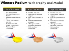 Strategy Diagram Winners Podium With Trophy And Medal Business Framework Model